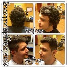 Men's curly disconnected pompadour haircut Orem UT