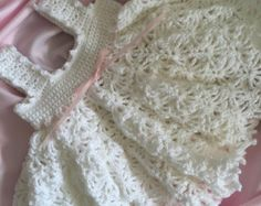 Crocheted Christening Gown Crochet Baby Dress by everythingswhite