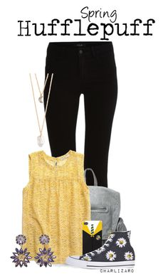 Hufflepuff by charlizard on Polyvore featuring Madewell, VILA, Converse, Versace and With Love From CA