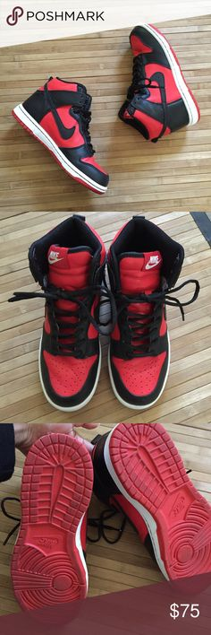 396233f2f0c NikeiD Dunk High Top Sneakers Customized red and black NikeID dunk high  tops. Lightly worn