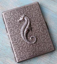 victorian seahorse cigarette case #seahorse #victorian #case #silver #etsy