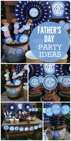 An amazing Father's Day picnic with chocolate donuts and cupcakes and fun party … – Abiball Abschlussfeier Baby Shower Erntedankfest (Thanksgiving) Geburtstag Geschenk korb Fathers Day Brunch, Happy Fathers Day, Father's Day Celebration, Daddy Day, Fathers Day Crafts, Fathers Day Ideas, Fathers Day Banner, Party Themes, Party Ideas