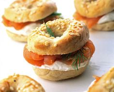 Mini bagels and lox. Use chive cream cheese to add some light onion flavor.