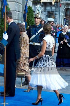 King Felipe VI of Spain (L), Queen Letizia of Spain (R) and Queen Sofia (C) attend the Princesa de Asturias Awards 2017 ceremony at the Campoamor Theater on October 20, 2017 in Oviedo, Spain.