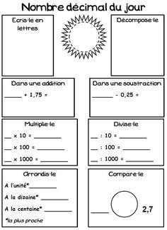 Mathématiques - NUMERATION Rituel - Le nombre décimal du jour
