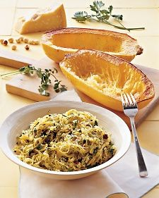 TRIED IT (Yum) - Roasted Spaghetti Squash with Herbs - Martha Stewart Recipes. A very simple but tasty way to eat spaghetti squash. Ate it was sausages, and then also served under the artichoke dip stuffed chicken in another pin! Food For Thought, Think Food, I Love Food, Good Food, Yummy Food, Healthy Food, Healthy Eating, Delicious Meals, Healthy Cooking