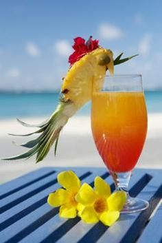 How cute is this pineapple bird garnish!
