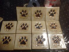 Stoneware dog paw tile with imprinted names 4 by 4 15.00 each