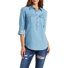 Charlotte Russe Light Wash Denim Half Placket Chambray Shirt by... ($27) ❤ liked on Polyvore featuring tops, light wash denim, denim shirt, pocket shirt, charlotte russe, blue denim shirt and blue button shirt