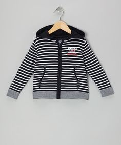 Take a look at this Navy Stripe Nautical Zip-Up Hoodie - Boys by Losan on #zulily today!