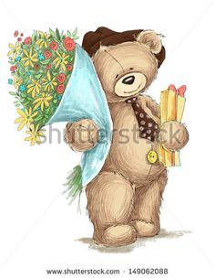 Teddy bear with flowers - stock photo