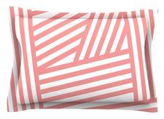 Rose Stripes by Louise Machado Cotton Pillow Sham