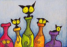 Bottle Cats (one of seven in series) ArtWithIntheWood Etsy