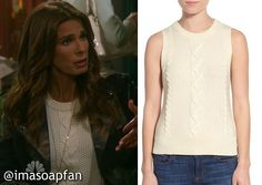 Hope Brady's Pearl Beaded Sleeveless Ivory Sweater - Days of Our Lives, Season 51, Episode 04/05/16 - I'm a Soap Fan, Kristian Alfonso, #DOOL Fashion, Clothing worn on #DaysofOurLives