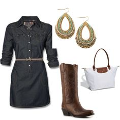 A fashion look from April 2012 featuring embroidered western boots, leather handbag tote and tear drop pearl earrings. Browse and shop related looks. Country Outfits, Fall Outfits, Fashion Outfits, Womens Fashion, Fall Fashion, Western Wear, Western Girl, Western Style, Western Boots