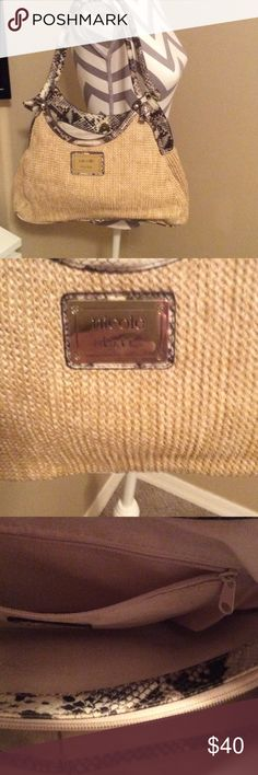 Nicole. By Nicole.  Miller This. A. Tan. Bag. (((Trimmed. Look alike. Snake skin. )))It's. Got. Two. Compartments. Inside. Has. A middle. Zipper. Pocket.   Could. Use. Year. Round Nicole by Nicole Miller Bags Shoulder Bags
