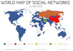 La mappa dei social network (aggiornata a Giugno 2013) ==> via Vincos