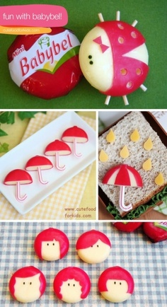 cute snacks with babybel cheese Cute Food, Good Food, Yummy Food, Babybel Cheese, Cheese Snacks, Cheese Food, Boite A Lunch, Food Humor, Party Snacks
