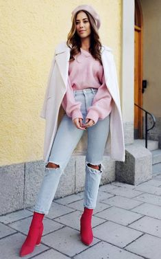 5910de49e48 30 Best Street Style Outfits To Wear This Fall. Red BootsPink ...
