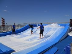 One of the Flowrider surf riding simulators on Oasis of the Seas. Coming to Kata Beach, Phuket soon! Wakeboarding Girl, Royal Caribbean Oasis, Wakeboard Boats, Wave Pool, Surf House, Sup Surf, Water Photography, Big Waves, Phuket