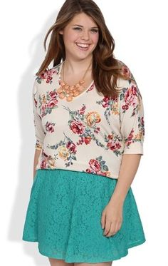 Deb Shops Plus Size Skater #Skirt with #Floral #Lace $13.14. Not the shirt but the skiiiirtttt