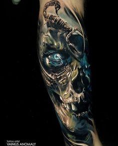 Skull Sleeve Tattoos, Quarter Sleeve Tattoos, Best Sleeve Tattoos, Body Art Tattoos, New Tattoos, Tattoos For Guys, Tattoo Arm, Evil Tattoos, Wicked Tattoos