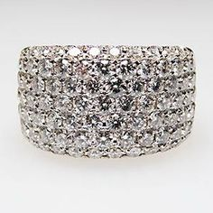 Estate Genuine Diamond Wide Band Cocktail Ring