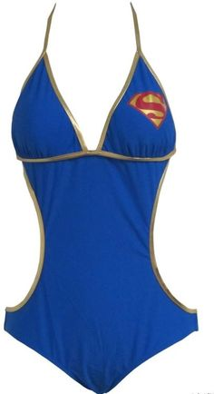 Supergirl Logo Triangle Monokini One Piece Bathing Suit Licensed