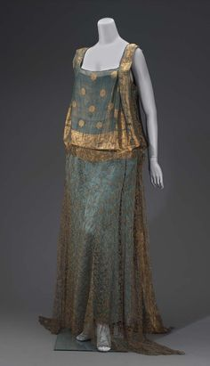 Evening dress, first quarter 20th century (clearly 1910s or 20s). Made in part from an Indian sari of blue and gold