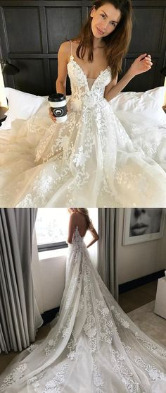 white lace long wedding dress, spaghetti straps long wedding dress with train, white lace long bridal gown