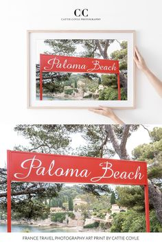 The iconic Paloma Beach on Saint-Jean-Cap-Ferrat. Considered one of the most beautiful spots on the French Riviera, Paloma Beach was opened in 1948 and is named after Pablo Picasso's daughter. It's the epitome of sophisticated casual and understated chic, and has long been popular with the rich and famous. Archival prints are available framed and unframed at www.ccoylephotography.com Red Photography, France Photography, Travel Photography, Red Wall Art, Red Art, Coastal Wall Decor, France Art, Ferrat, Framed Prints