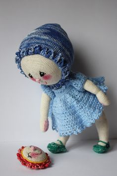 Miss Bluebell. Crochet doll by Maluba.