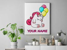 Personalized unicorn canvas wall decor for kids personalised unicorn canvas ready to hang on the wall chubby unicorn with balloons by funkytshirtsfactory on Etsy Unicorn Wall, Canvas Wall Decor, Canvases, Balloons, Cool Stuff, Kids, Handmade, Etsy, Home Decor