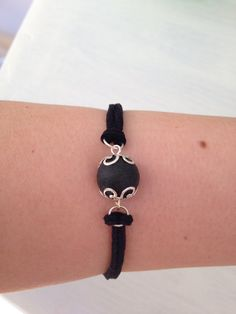 Lava bead bracelet silver tone by EssaGems on Etsy
