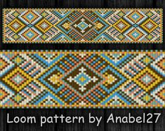 Bead loom pattern - Square stitch pattern, bead pattern #128, Instant Download, PDF, Ethnic style, wide loom cuff, traditional
