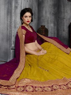 Mustard Net Lehenga Choli with Diamond Work