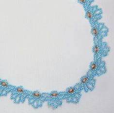 Free Bead Patterns and Ideas : Blue Loops Necklace Pattern Beading Patterns Free, Beaded Jewelry Patterns, Weaving Patterns, Beading Tutorials, Bead Patterns, Beaded Rings, Beaded Lace, Beaded Necklaces, Bead Crafts