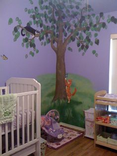 Custom wall mural with our two cats for baby rooms (painted by my nephew)