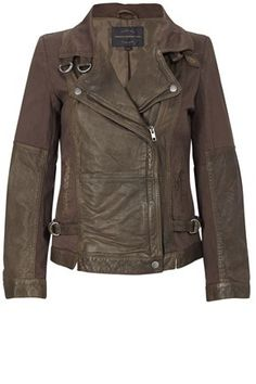 French Connection leather biker jacket is an effortlessly cool cover-up. Pair this tactile washed-leather piece with skinny black jeans and chunky shoe-boots for an edgy down-town look.    Amy Leather Jacket has a fold-down collar with buckle fastenings, zip and press-stud fastenings at front, pockets and buckle tabs at sides.