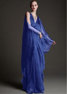 Elegant Silk-like Chiffon V-neckline Sheath Kaftan Evening Dresses