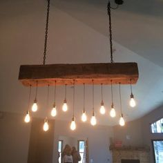 60 Reclaimed Barn Beam Light Fixture with LED Edison Bulbs recycled rustic chandelier Farmhouse Lighting, Rustic Lighting, Do It Yourself Decoration, Timber Beams, Rustic Chandelier, Chandelier Lighting, Iron Chandeliers, Pendant Chandelier, Pendant Lights