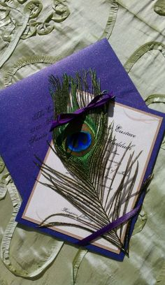 Peacock invitation - but only ribbon colour