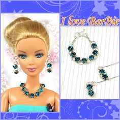 Handmade jewelry set(necklace and earring) for barbie doll. 1 sets of Handmade jewelry (includding 1 pc pc bracelet and 1 pair of earrings) for barbie doll. handmade barbie doll jewelry set necklace and earrings. Sewing Barbie Clothes, Barbie Dolls For Sale, Doll Clothes, Jewelry Model, Jewelry Sets, Barbie Hair, Barbie Patterns, Barbie Accessories, Fashion Dolls