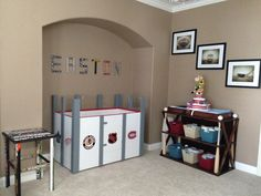 I made the crib, changing table, hockey stick table, and name above the crib. The pictures are from etsy (Shawn St. Baby Boy Hockey, Hockey Nursery, Hockey Room, Nursery Room, Hockey Decor, Nursery Themes, Boy Girl Room, Baby Boy Rooms, Baby Boy Nurseries
