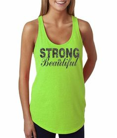 """Workout tank womens fitness terry tank top  with """"Strong Is Beautiful"""" in black. Hand printed on incredibly soft, comfortable racerback terry tank, perfect for training at the gym, running, yoga, cross fit, etc. Fits true to size. Machine wash cold, tumble try low. No bleach.    4.9 oz  50% ringspun cotton, 50% terry lightweight jersey  Racerback 