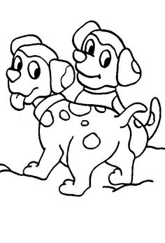 Small Dogs Playing Together Coloring Pages For Kids Printable