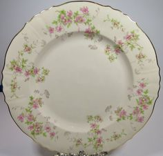 Syracuse Stansbury Dinner Plate Set of 4 Pink Flowers Gold Trim Rimmed VTG #Syracuse