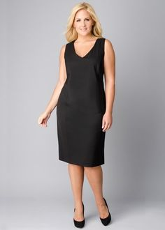 One of my favorite lines!  Stretch Wool V-Neck Sheath Dress : Womens Dresses & Designer Outfits | Lafayette148ny.com