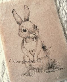 Michelle Palmer: Here a bunny. there a bunny! Ink Illustrations, Cute Illustration, Fabric Painting, Painting & Drawing, Quilt Labels, Rabbit Art, Easter Art, Bunny Art, Sketch Inspiration