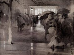 Yoshio Markino (Japanese 1869-1956), A wet day in Sloane